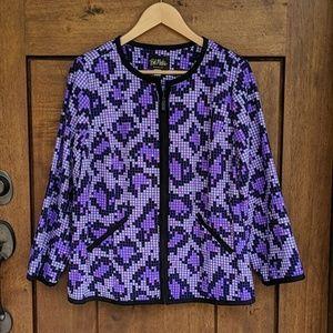 Bob Mackie wearable art lightweight zip jacket